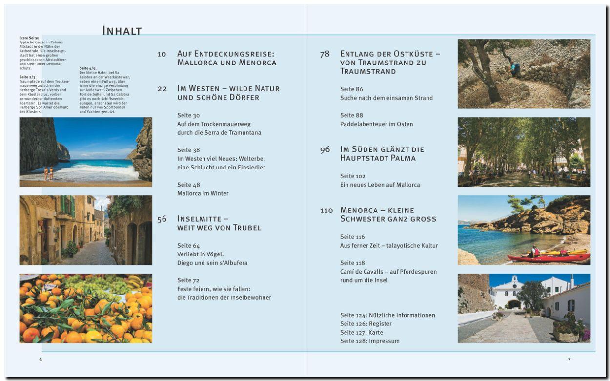 Inhaltsverzeichnis des Bildbands Menorca & Menorca