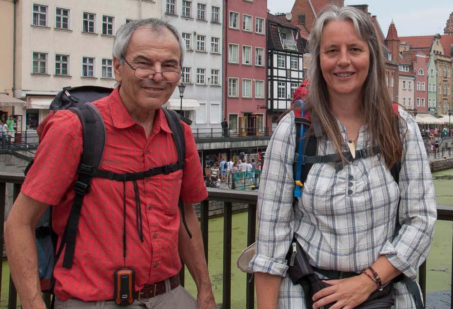 Hans-Jörg und Beate in Danzig auf dem Pommerschen Jakobsweg