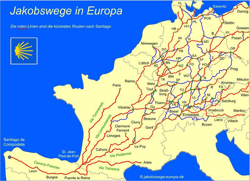 Interaktive Karte der Seite www.jakobswege-europa.de