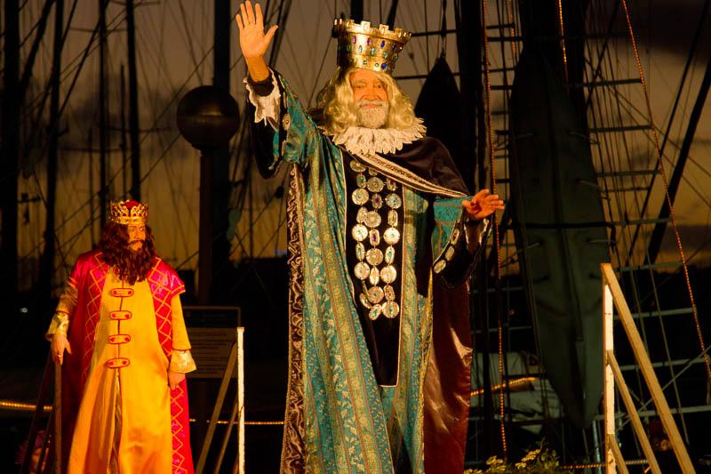 heilige drei Könige kommen an der alten Mole in Palma, Mallorca an