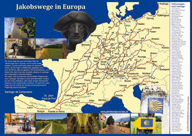 Poster Jakobswege Europa