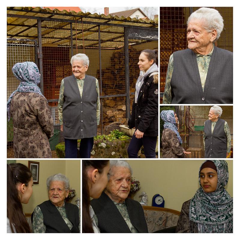 Die 93jährige Frau Walka im Gespräch mit zwei Schülerinnen