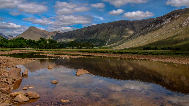 Glen Coe in den Highlands von Schottland