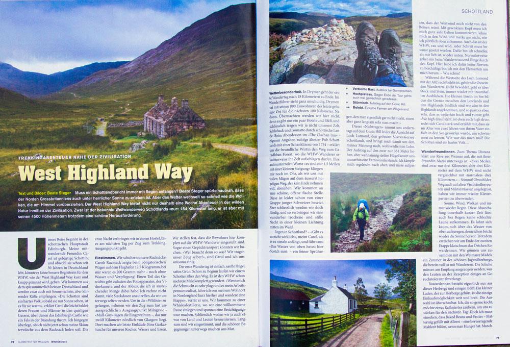 Ausschnitt des Artikels von Beate Steger übers Wandern in Schottland