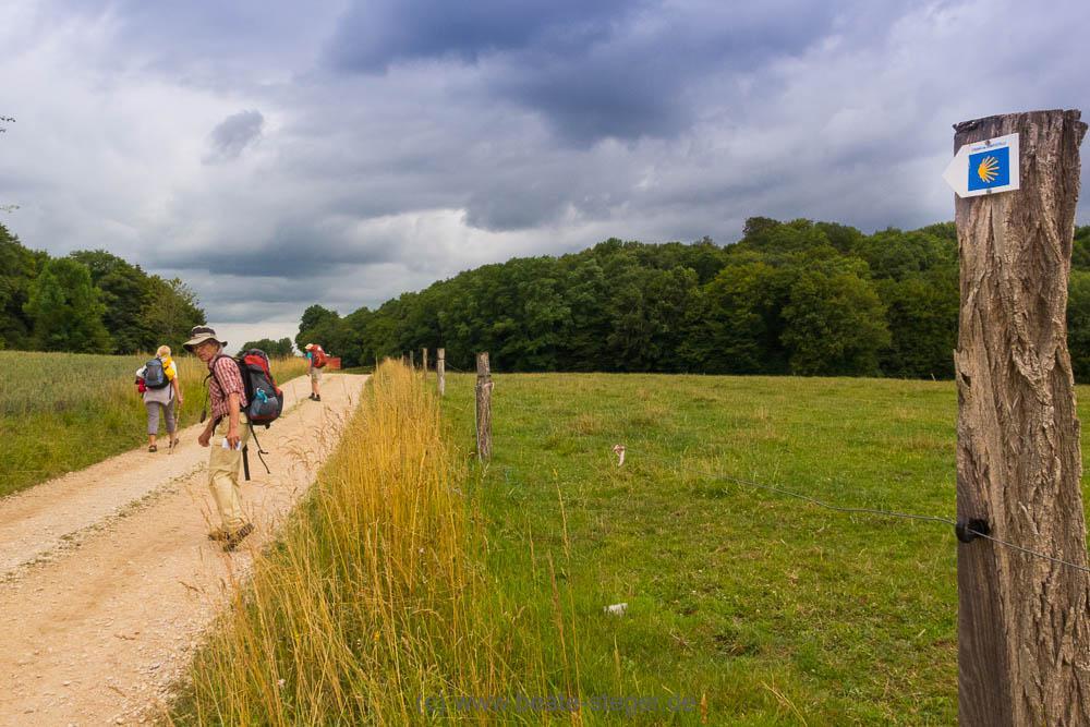 Pilger auf dem Jakobsweg durch Frankreich bei Recologne-lès-Rioz (Franche Comté)