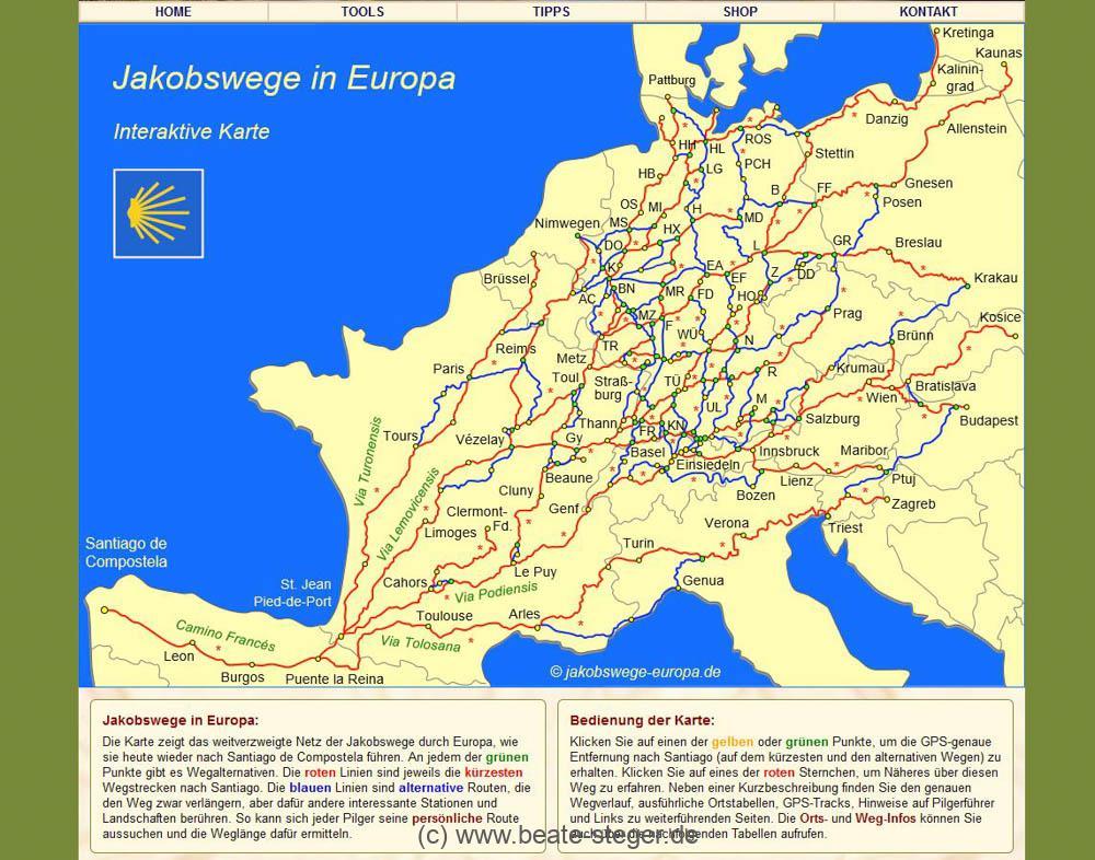 grüner Hintergrund und Europakarte der Jakobswege in Europa