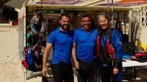 Mallorca: Kajakschule in Pollenca, Beate Steger mit Oscar und Miquel