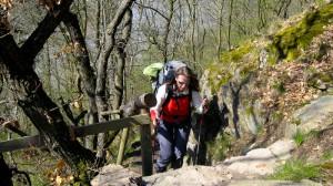 Beate Steger auf dem Rheinsteig