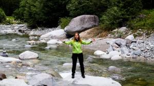 Beate Steger am Zusammenfluss Vorder- und Mittlerer Rhein