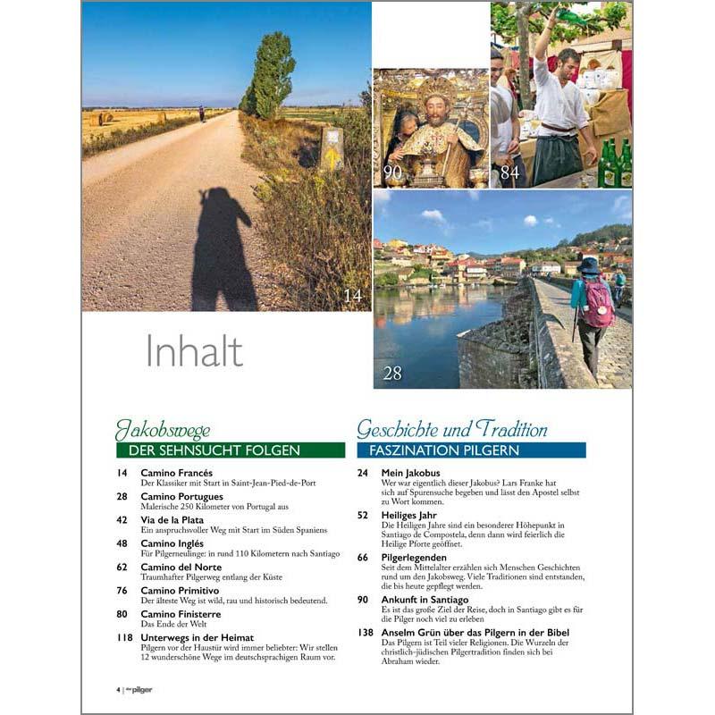 Inhaltsverzeichnis rechte Seite Sonderheft Jakobsweg