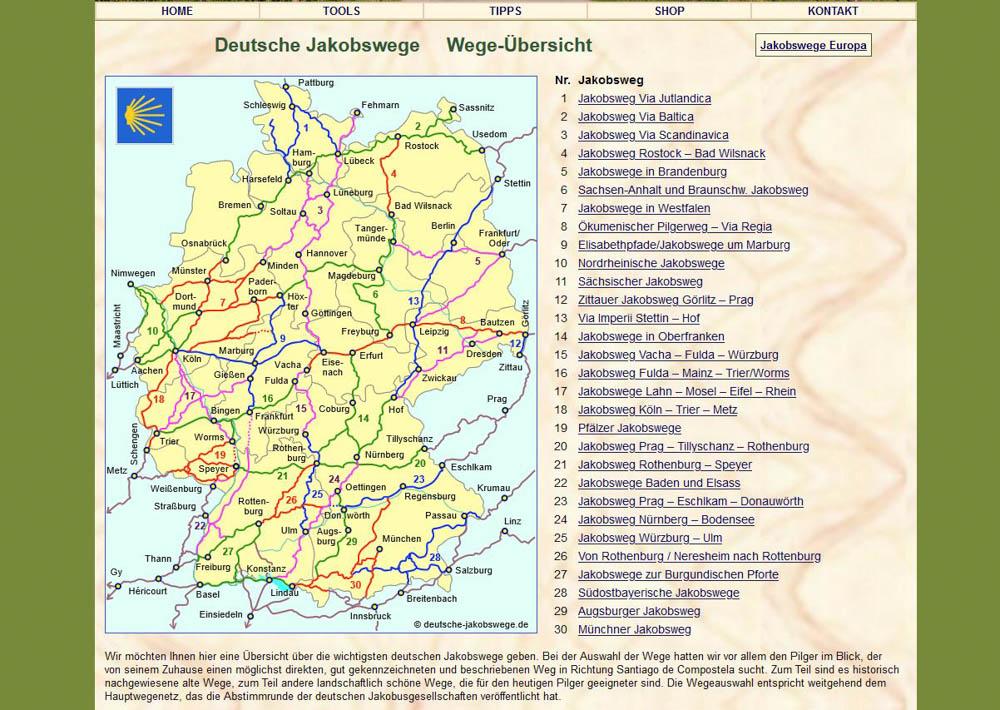 grüner Hintergrund und Deutschlandkarte der Jakobswege in Deutscshland