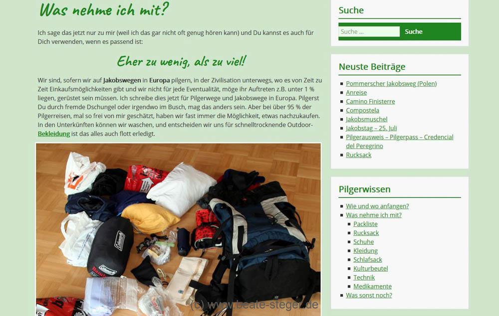 hellgrüner Hintergrund und Bild und Text zum Thema was mitnehmen zum Pilgern